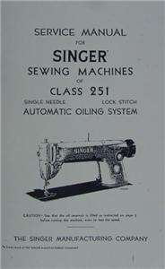 Singer 251 Sewing Machine Service Manual