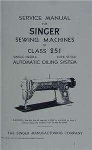 Singer 251 Sewing Machine Service Manual