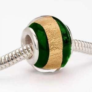 Style Glass Gold Foil Lampwork Bead Fits Pandora Emerald Green Foil