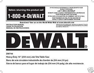 Dewalt Table Saw Instruction Manual Model #DW744