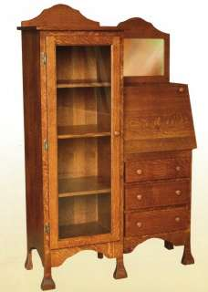 Amish Solid Wood Writing Secretary Desk Office Bookcase Country