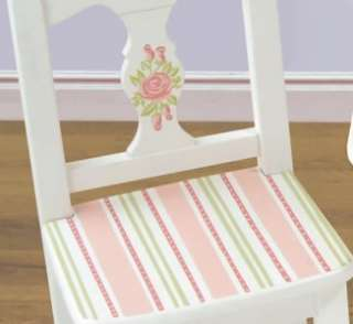 Girls Wood Pink & White Hand Painted ROSES Chair Set