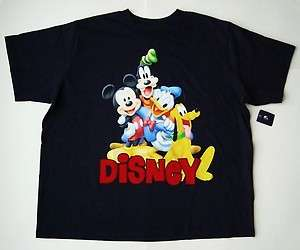 Disney Mickey Mouse, Goofy, Donald & Pluto Disney Navy Adult Tee