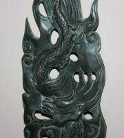 Vintage Hand Carved Wood Asian Dragon Sculpture