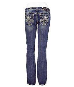 WOMENS MISS ME JEANS CROSS FLAP BOOT STRETCH JEAN SIZE 28