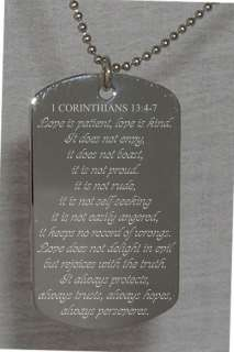 Corinthians Bible Verse Text Engraved Dog Tag Christian