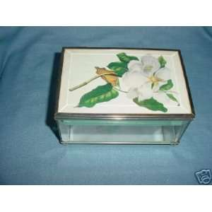 Glass & Brass Jewelry Box with Flower on Lid & Mirror