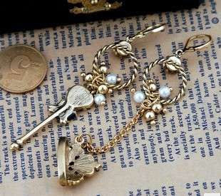 Womens/Ladys/Girls Key Crown Asymmetric Long Earrings Dangle