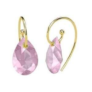 Monsoon Earrings, Pear Rose Quartz 14K Yellow Gold Earrings Jewelry