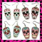 SUGAR SKULL EARRINGS *CHOOSE YOUR COLOUR!* ROCKABILLY DAY OF THE DEAD