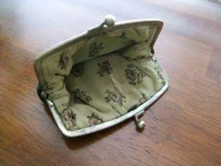 Victorian Black Velvet Coin Purse ~ Silver Clasp ~ Floral Silk Lined