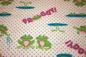12 6 GIRLY FROGS Flannel Fab. Square Create Rag Quilt
