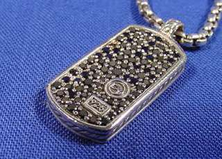 David Yurman Small Black Diamond Dog Tag W/22 Box Chain