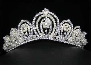 Wedding/Bridal crystal veil tiara crown headband CR220