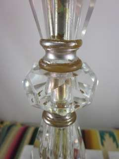 Deco Era Fancy Cut Crystal Glass Table Nightstand Boudoir Lamps