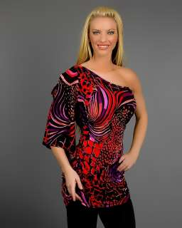 SIZE MULTI COLOR ANIMAL PRINT ONE SHOULDER TOP 1XL 14/16 NEW