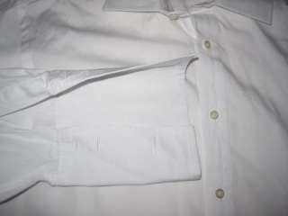 100% Auth White PINK Men Cuffed Dress Shirt Sz 15.5 / 39 Sharp