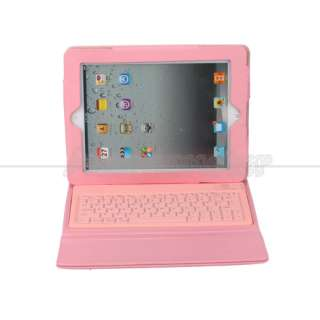 Bluetooth Wireless Keyboard Leather Case Cover for Apple iPad 2 Pink
