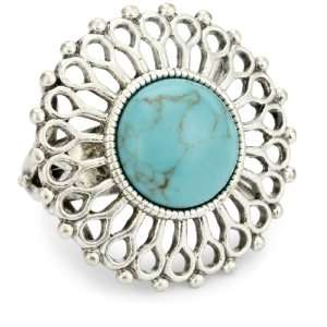 Lucky Brand Bohemian Silver Tone Blue Set Stone Ring, Size 7