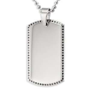 Stainless Steel Mens Dog Tag with Black Pave Set CZs on a