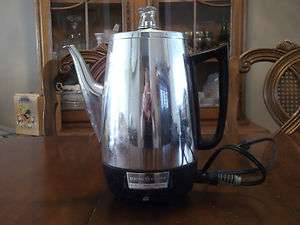 1950S GENERAL ELECTRIC CHROME COFFEE PERCOLATOR PYREX KNOB