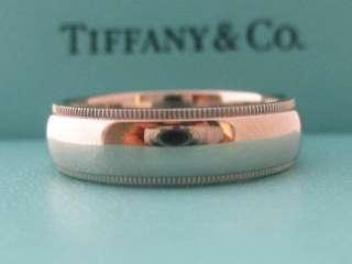 317b1b734 Wedding Band Ring in 22kt Gold Authentic; TIFFANY & CO. WEDDING MILGRAIN  6MM PLATINUM PT950 BAND RING COMFORT ...
