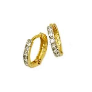 14K Yellow Gold Huggies Earrings with Channel Set Diamonds Jewelry