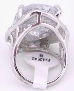 WHITE GOLD GP WHITE CRYSTAL COCKTAIL RING HUGE B6012