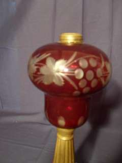 Antique Overlay Cranberry Oil Lamp, Sandwich Glass