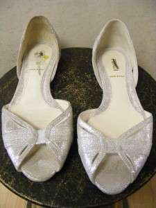 FENDI SHOES SILVER MIRROR EMBOSSED FLAT SHOES OPEN TOES GREAT W SKINNY