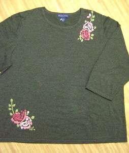 Women Sweater KAREN SCOTT 2X Dark Gray 3/4 Sleeve