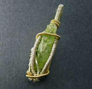 Green Kyanite Reversible Silver Gold Wire Wrap Pendant