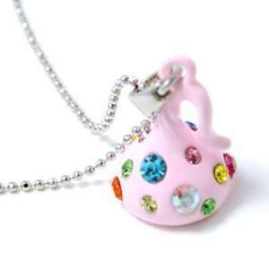 Adorable Pink Kiss Rhinestone Pendant Charm Necklace