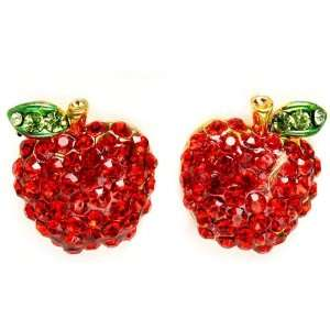 Designer Inspired Adorable Red Sparkling Crystal Embellished Apple