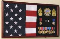 large 3x5 flag and military medals display case cabinet w glass door