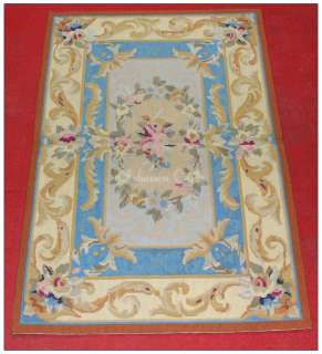 10 AUBUSSON RUG ~ PINK ROSES & CREAM BACKGROUND