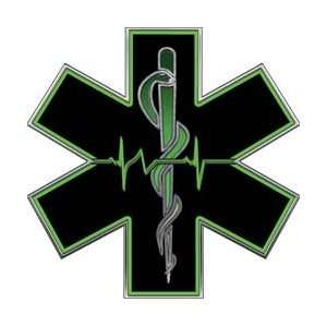 Green EMT EMS Star Of Life With Heartbeat   4 h