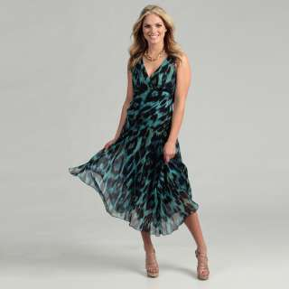Connected Apparel Womens Blue Chiffon Maxi Dress