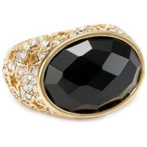 24k Gold Plated Glass Onyx And Swarovski Crystal Ring, Size 7 Jewelry