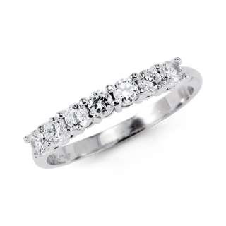 14K White Gold CZ Wedding Anniversary Ring Band