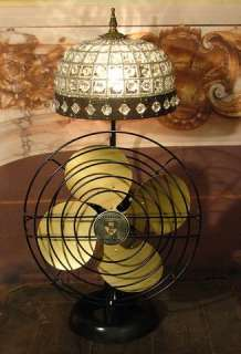 Antique Vintage Table Desk Electric Fan Lamp Embedded Crystal Shade