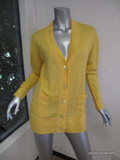 Autumn Cashmere Canary Yellow Button Down Cardigan M