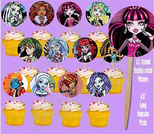 High Ghoul Dolls Double sided Images Cupcake Picks Cake Topper  12 pcs