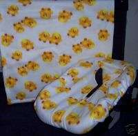 New Infant Car Seat Cover & Fleece Blanket Yellow Chick