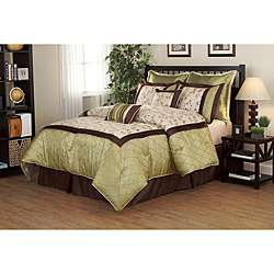 Savanna Green/ Brown 8 piece Comforter Set  Overstock