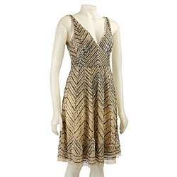 Stenay Womens Beaded Chevron Dress