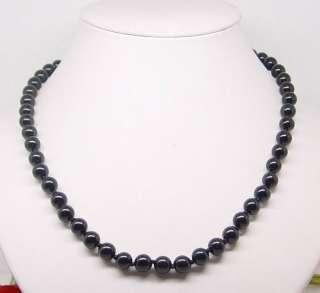 set black onyx necklace bracelet earring gem stone 8mm