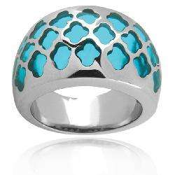 Stainless Steel Turquoise color Resin Inlay Ring