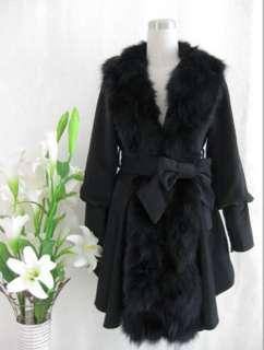 Womens Ladies Real Fox Fur Collar Tuxedo Cashmere Winter Coat Outwear