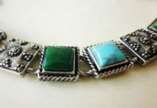 Lucky Brand Silver Tone W Blue Turquoise Green Stone Charm Bracelet